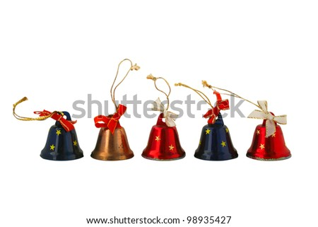 five bells of different colors on a white background - stock photo