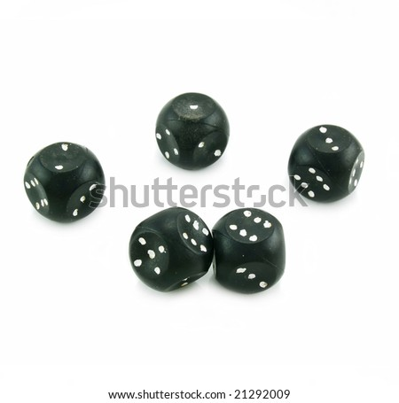 Five black plastic dices isolated on a white background - stock photo