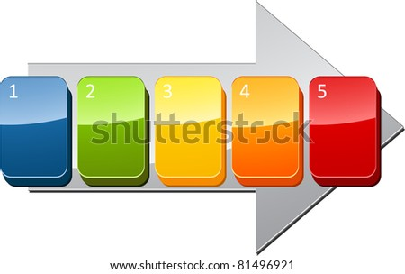 Five blank numbered sequential steps business diagram illustration - stock photo