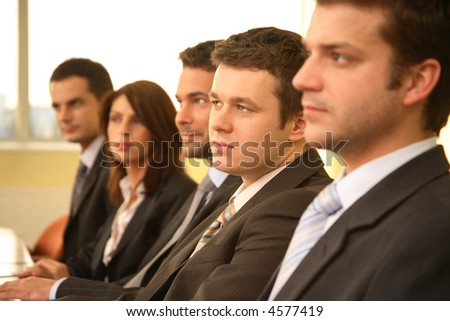 five business people at the meeting - debate - stock photo