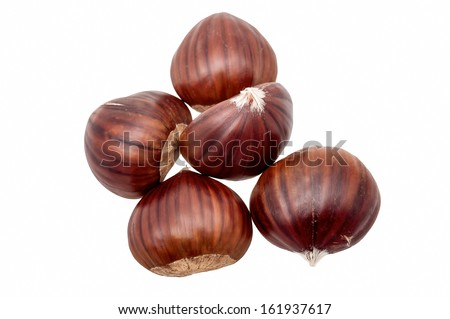 Five chestnuts isolated - stock photo