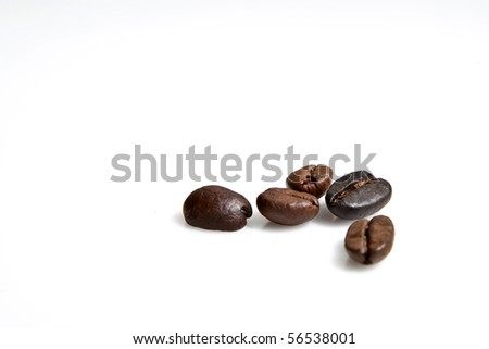 five coffee beans - stock photo