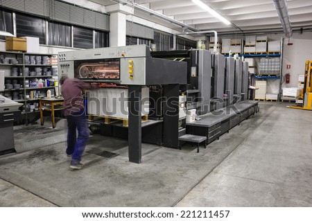 five color offset press lithography machine working - stock photo
