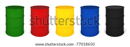Five colored barrels 3D render isolated over white - stock photo