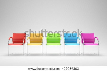 Five colored chairs in empty space 3D render - stock photo
