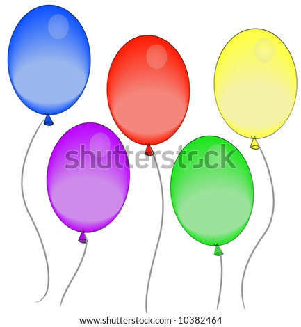 five colorful balloons floating in the air - stock photo