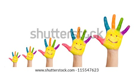 Five colorful hands with smile of big family, mother, father and children, situated as graph of growth, ready for logo. Very small, small, medium, large, very large hands Isolated on white background - stock photo