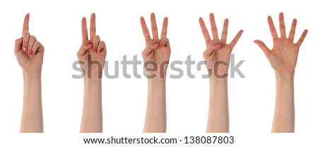 Five counting female hands isolated on white - stock photo
