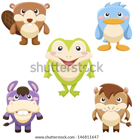 five cute animals set with white background - stock photo
