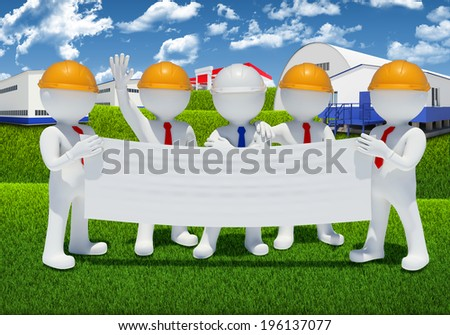 Five 3d white people holding blank poster. Industrial buildings as backdrop - stock photo