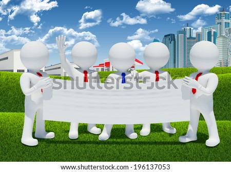 Five 3d white people holding blank poster. Skyscrapers and industrial buildings as backdrop - stock photo