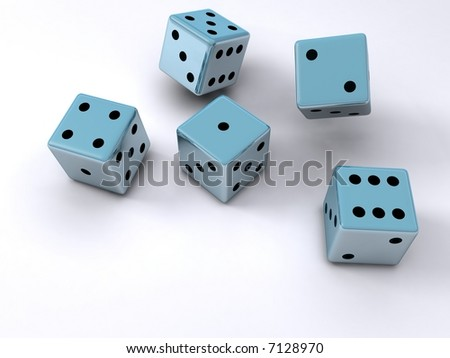 Five dice cubes falling onto a white surface - stock photo