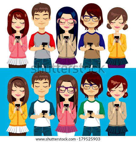 Five different young people using mobile phones socializing on internet - stock photo