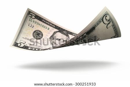 Five dollar banknote stacks - stock photo