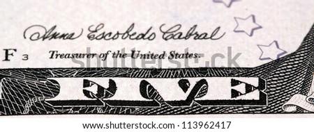 five dollar bill detail - stock photo