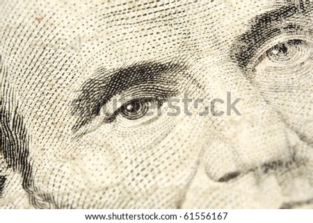 five dollar, macro in the president portrait - stock photo