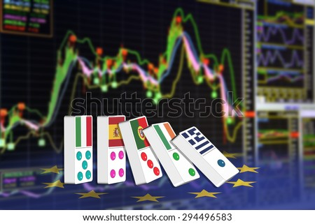 Five dominoes of EU countries that seem to have financial problem, stand upright in front of the display of financial instruments for stock market technical analysis including  buy-sell signal. - stock photo