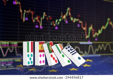 Five dominoes of EU countries that seem to have financial problem, stand upright in front of the display of financial instruments for stock market technical analysis including Japanese candlestick. - stock photo