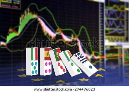 Five dominoes of EU countries that seem to have financial problem, stand upright in front of the display of financial instruments for stock market technical analysis including Bollinger band analysis. - stock photo