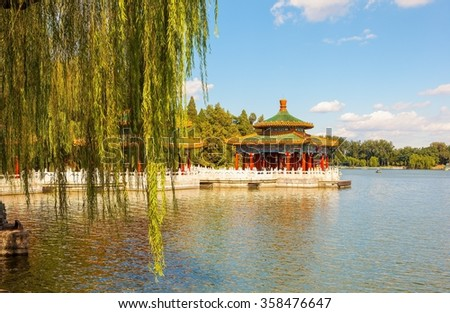 Five-Dragon Pavilions in Beihai Park. Beihai Park located in Beijing of China. It has a history of 1000 years. It was royal garden. - stock photo
