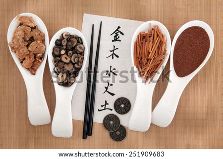 Five elements chinese calligraphy script on rice paper with herbal medicine selection. Metal, wood, water, fire, earth characters, top to bottom. - stock photo