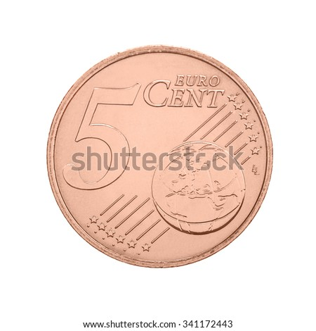 Five euro cents coin - isolated on white - stock photo