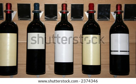 five famous wines in a store - saint-emilion, france - stock photo