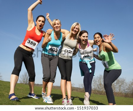 Five Female Runners Training For Race - stock photo
