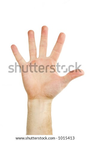 Five fingers being held in the air by a males hand.  Isolated on white with clipping mask. - stock photo