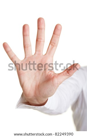 Five fingers of a hand isolated on white - stock photo