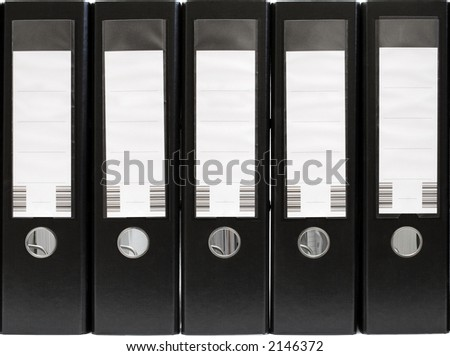 Five Folders in a Row (Front View) - stock photo