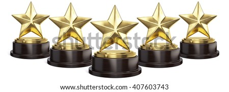 Five Gold stars trophy award isolated on white. 3d rendering - stock photo