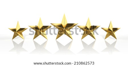 Five golden stars isolated on white background  - stock photo