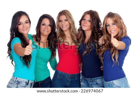 Five good friends saying Ok isolated on a white background - stock photo