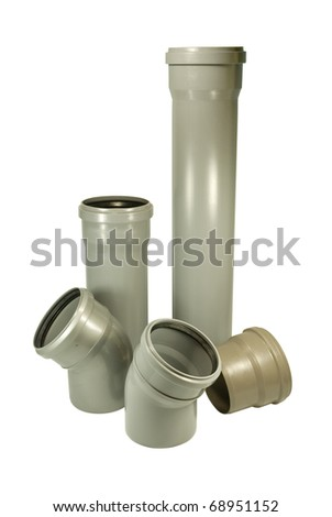 Five grey waste pipes: two angular pipes, two direct pipes and an adapter. On a white background - stock photo