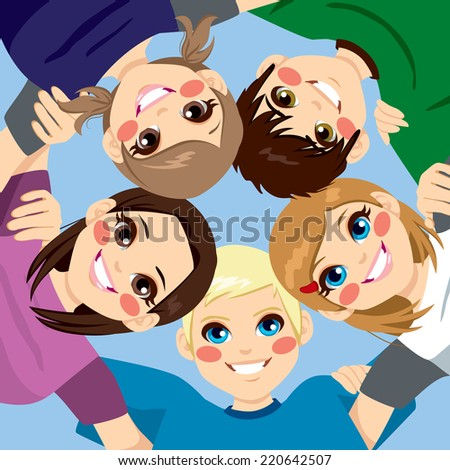 Five happy young smiling teenagers embracing together in circle from low angle view - stock photo