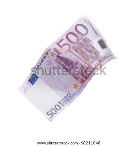 Five hundred euro banknote falling against white background - stock photo