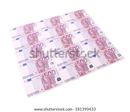 Five hundred euro banknotes. On a white background. - stock photo