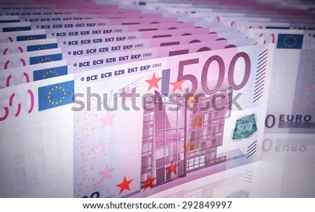 Five hundred euro banknotes stacks (depth of field) - stock photo