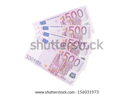 Five hundred euro notes aligned. Isolated on a white background. - stock photo