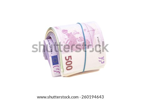 five hundredth euro banknotes under rubber band isolated - stock photo