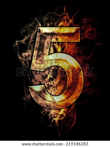 five, illustration of  number with chrome effects and red fire on black background - stock photo