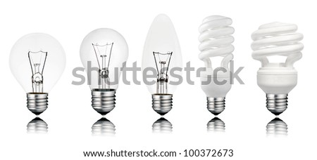 Five Lightbuls with Reflection Isolated on White. Golf Ball, Normal, Candle type and two Saver Light Bulbs - stock photo