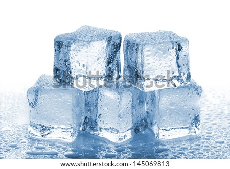 Five melted ice cubes with water drops on white background - stock photo