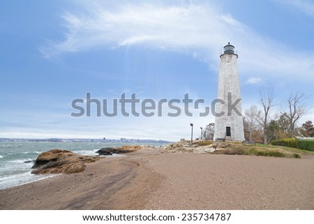 Five Mile Point Lighthouse in New Haven CT - stock photo