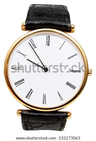 five minutes to ten o'clock on dial of wristwatch isolated on white background - stock photo