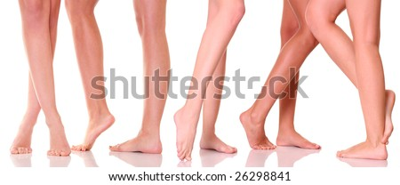 Five pairs female feet close up, isolated on a white background, please see some of my other parts of a body images: - stock photo
