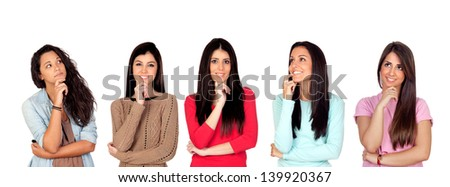 Five pensive brunette girl isolated on a over red background - stock photo