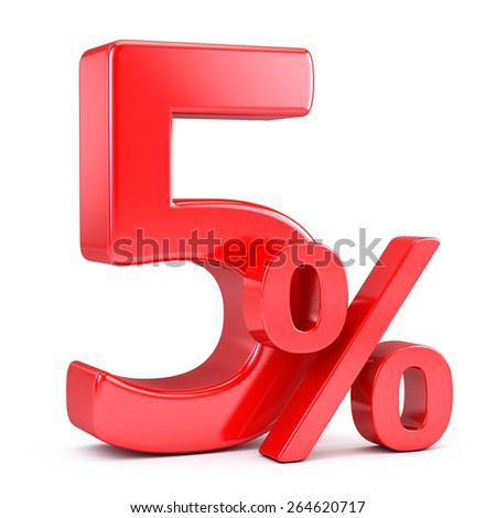 Five percent on white background - stock photo