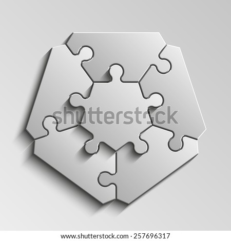 Five-pointed figure puzzle presentation infographic template with explanatory text field for business statistics - stock photo
